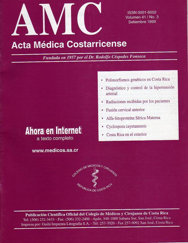 Ver Vol. 41 Núm. 4 (1999): Acta Médica Costarricense Diciembre 1999