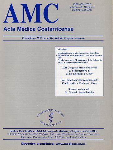 Ver Vol. 42 Núm. 3 (2000): Acta Médica Costarricense Julio-Setiembre de 2000